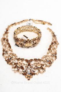 290 Carolee Lux 2pc Gold Tone Flower Cluster Crystal Bracelet