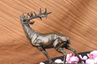 Large Original Reindeer Caribou Bronze Sculpture Figure Statue