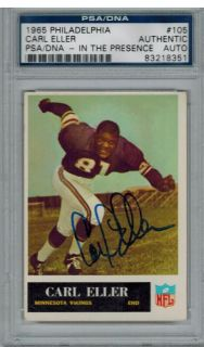 PSA DNA Carl Eller Signed Vikings 1965 Philadelphia Rookie RC Card 105