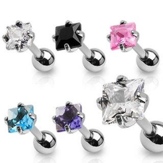 Princess Cut CZ Steel Tragus Cartilage Piercing Earring Stud 16 Gauge