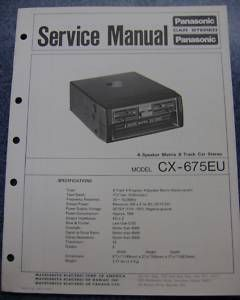 Track Car Stereo Panasonic Service Manual CX 675EU