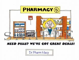 Personalized RX Pharmacist Pharmacy Cartoon Free Mini