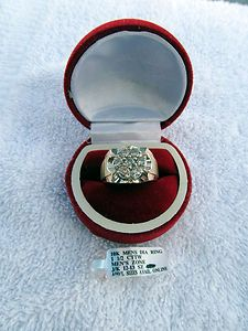 LARGE 1 5 CARAT DIAMOND MENS SOLID 10KT GOLD CLUSTER RING SIZE 12 75