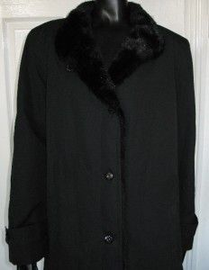 Dannimac Black Button Down Rain Waterproof Padded Winter Coat Fur Trim