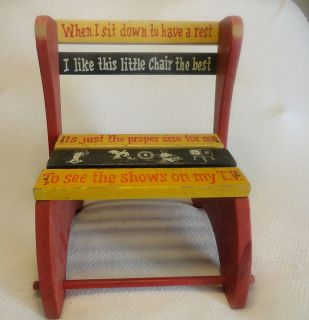 VTG Retro Toy 1950s Antique Wooden Wood Childs TV Red Painted Chair