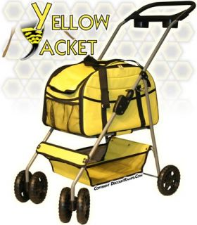 Yellow Folding Dog Stroller Carrier Pet Strollers Dogs PS 08 Yellow