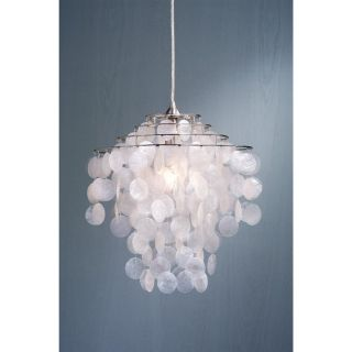 Laura Ashley Cream Capiz Shells Pendant Lighting Nickel