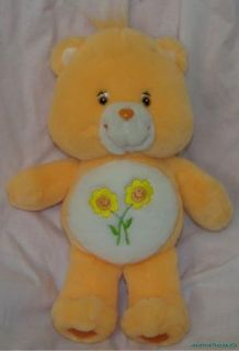 2004 Plush 14 Care Bears Peach TALKING FRIEND BEAR Daisy Belly Badge