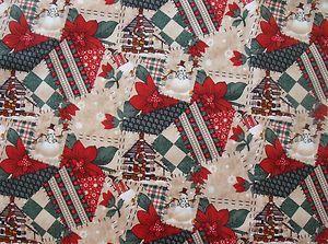 New Carol Endres Cabin Cloth Christmas Crazy Quilt Design Print Cotton