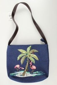 Denim Pink Flamingo Christmas Palm Tree Cappelli Straworld