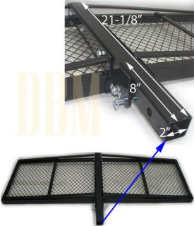 Folding Foldable Basket Cargo Carrier Rack 2 Hitch Mounted 1000 Lbs