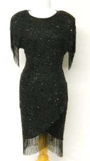 Vintage Oleg Cassini Size 12 Black Heavily Beaded Dress Fringe Silk