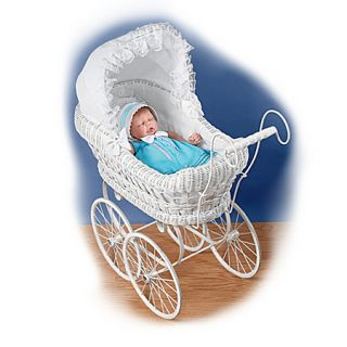 White Victorian Style Wicker Baby Doll Carriage Baby Doll Accessories