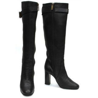 Flavio Castellani Made in Italy Black Leather Chunky Heel Knee Boots