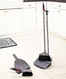 Designer Broom and Dustpan Sets Zebra Pattern