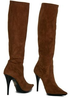 New Casadei Stretch Suede Camel Boots High Heel 39 9