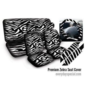New 11pcs Zebra Car Mats Seat Steering Wheel Cover Set