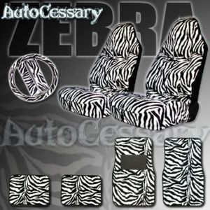 PC Safari Zebra Car Mats Seat Covers Steering Wheel