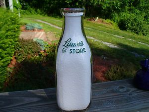 Dairy 5 Cent Store Green Lettered Quart Milk Bottle Carrolltown Pa