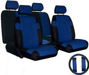BLUE BLACK Car Seat Covers SET w/ Steering Wheel Cover & Belt Shoulder