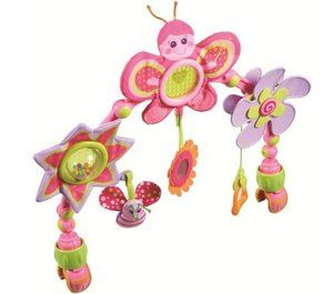 Take Along Pink Butterfly Flower Stroller Car Seat Travel Toy Arch NEW