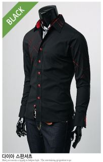 New Mens Dress Shirts Slim Fit Patched Casual Shirts 23