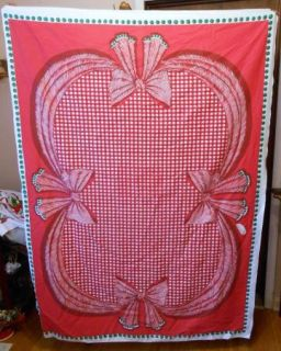 Vtg Carleton Varney Christmas Red Bow Green Dots Tablecloth 68 x 48