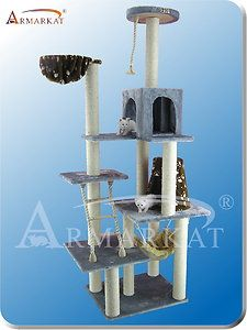 Armarkat 78 Cat Tree A7802 Grey 7 Level Cat Tower Condo Rope Hammocks