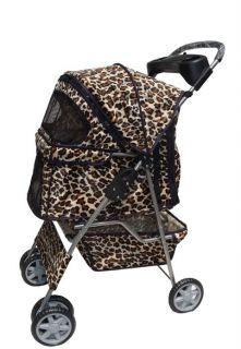 Leopard Skin 4 Wheels Pet Dog Cat Stroller w Raincover