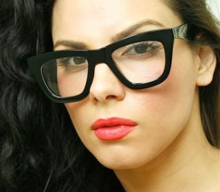 Big Cat Eye Black Plastic Frame Clear Lens Full Rim Eyeglasses Glasses