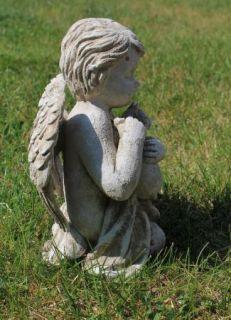 Angel w Cat Kitten Pet Memorial Statue Garden Decor