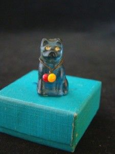Blue GLASS Cat, Bead Collar, Cracker Jack, PERFUME BOTTLE Decoration