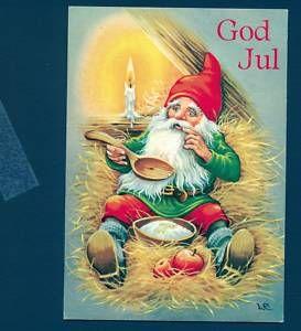 B7306 Swedish Postcard Carlsson Gnome God Jul Apple