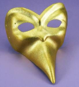 venetian gold ballo mask casanova halloween long beak nose shiny mardi