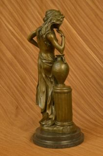Picanult Sexy Seductive Girl Bronze Sculpture Statue Marble Base Art