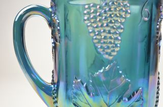 Indiana Carnival Glass Blue Pitcher Eight Glasses Grapes Leaves