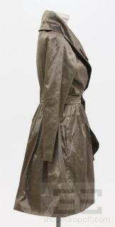 Catherine Regehr Sage Brown Silk Taffeta Long Sleeve Wrap Dress Size