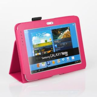 Hot Pink Leather Folio Case Cover with Stand for Samsung Galaxy Note