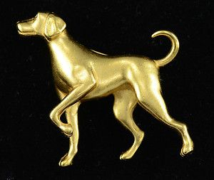 Magnificent Carolee Vintage Dog Brooch Pin Gold Tone Jewelry Animal