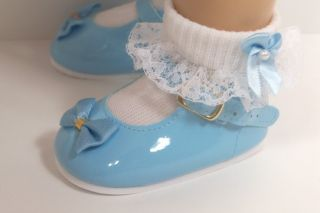 Lt Blue Patent Mary Jane Doll Shoes for Chatty Cathy♥