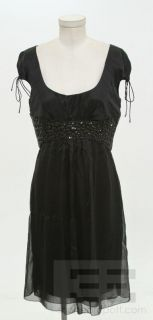 Carolina Herrera Black Jeweled Tie Short Sleeve Dress Size 10