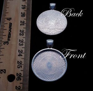 20 Silver Plated 1 Round Pendant Tray Setting Blanks