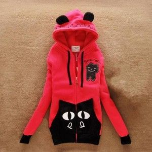 Casual Women Cute Smile Cat Hooded Hoodies Sweats Outerwear Long