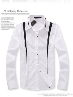 SLIM CASUAL DRESS SHIRT HIDDEN BUTTONS WHITE SZ M