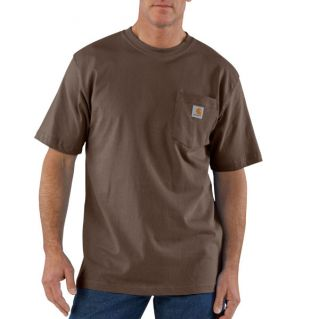 Carhartt Short Sleeve Cotton Pocket T Shirt Dark Brown K87 DKB
