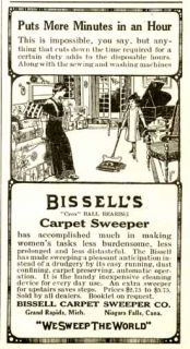 1915 bissell carpet sweeper cleaner advertisement