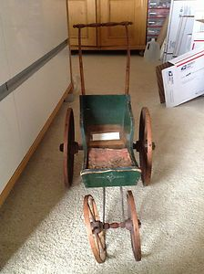 Antique Doll Baby Carriage Att to Joel Ellis Vt 1880s wooden
