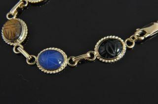 Estate Vintage Carla 14k Yellow Gold Carved Multi Gemstone Scarab Link