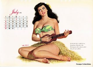 Esquire Pin Up Girl Calendar Page July 1951 Al Moore Unused
