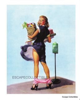 Frahm Pin Up Girl Art O Oh  Sexy Mishap Lost Panties Groceries 10x12